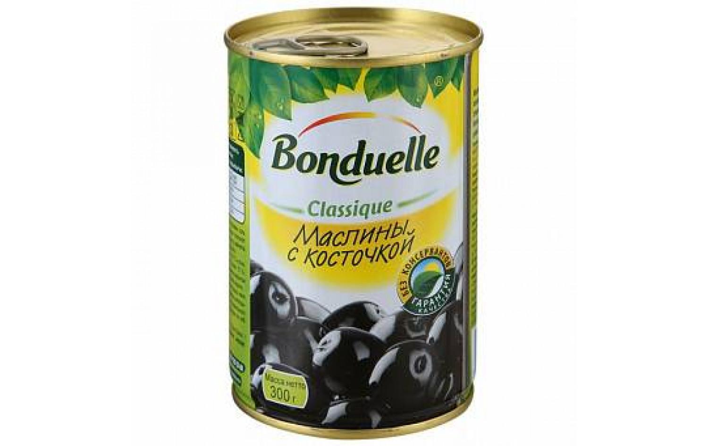 BONDUELLE - МАСЛИНЫ BONDUELLE 300гр ЧЕРНЫЕ С КОСТОЧКОЙ 3083680714655