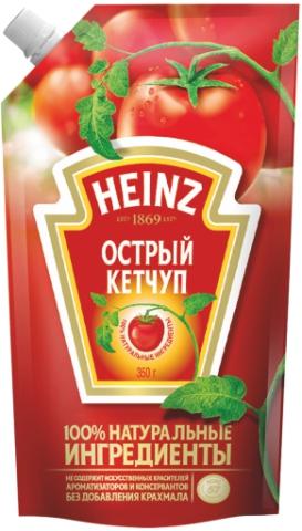 HEINZ - КЕТЧУП ОСТРЫЙ 350гр 4601674008659