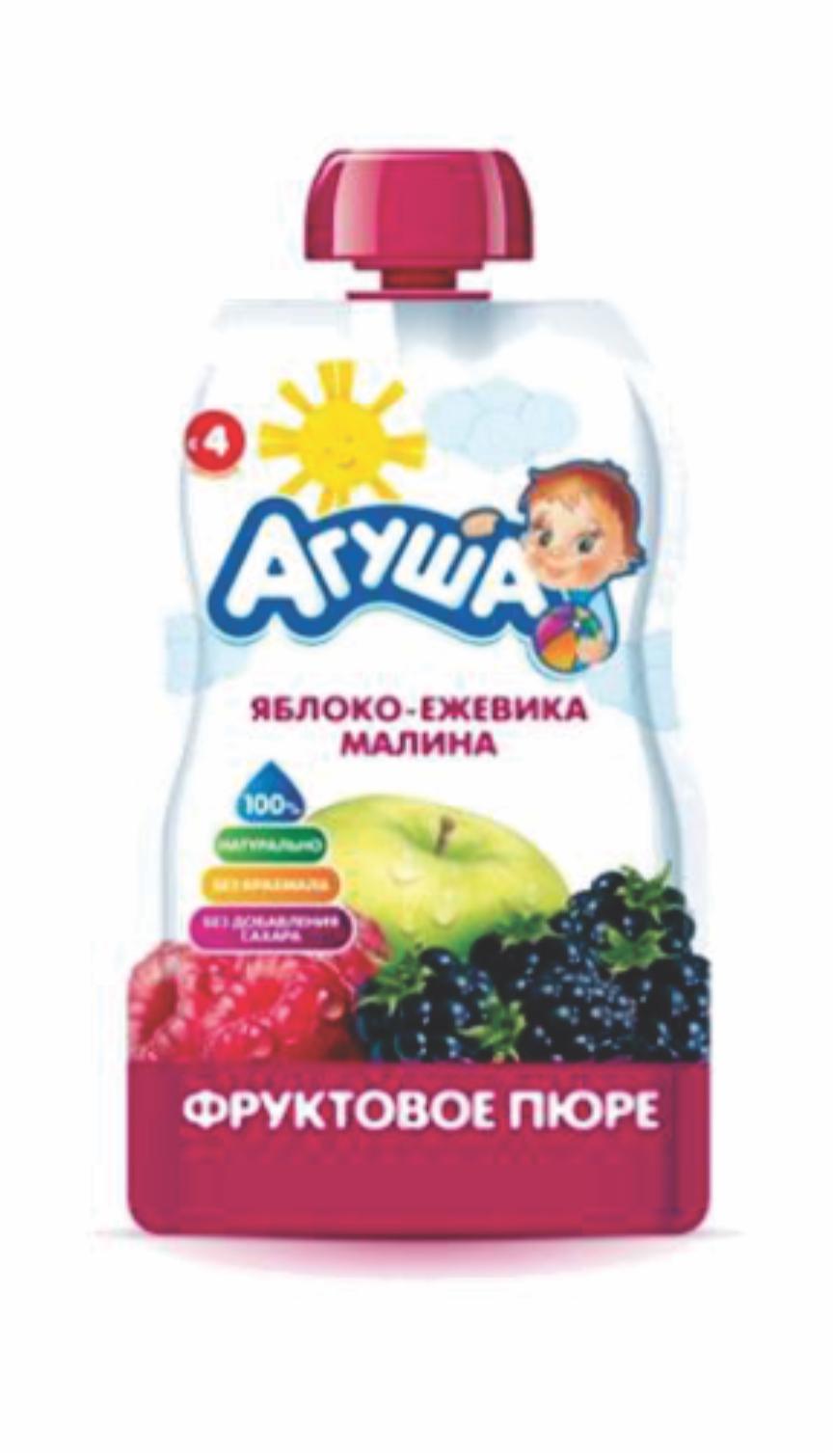 АГУША - ПЮРЕ ЯБЛОКО/ЕЖЕВИКА/МАЛИНА ПАУЧ 90гр 4690228032325