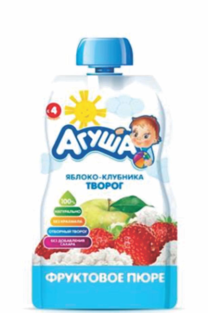 АГУША - ПЮРЕ ЯБЛОКО/КЛУБНИКА/ТВОРОГ ПАУЧ 90гр 4690228032363