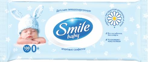 БИОСФЕРА - ВЛАЖНЫЕ САЛФЕТКИ SMILE BABY 100шт АЛОЭ-РОМАШКА 4823071607857
