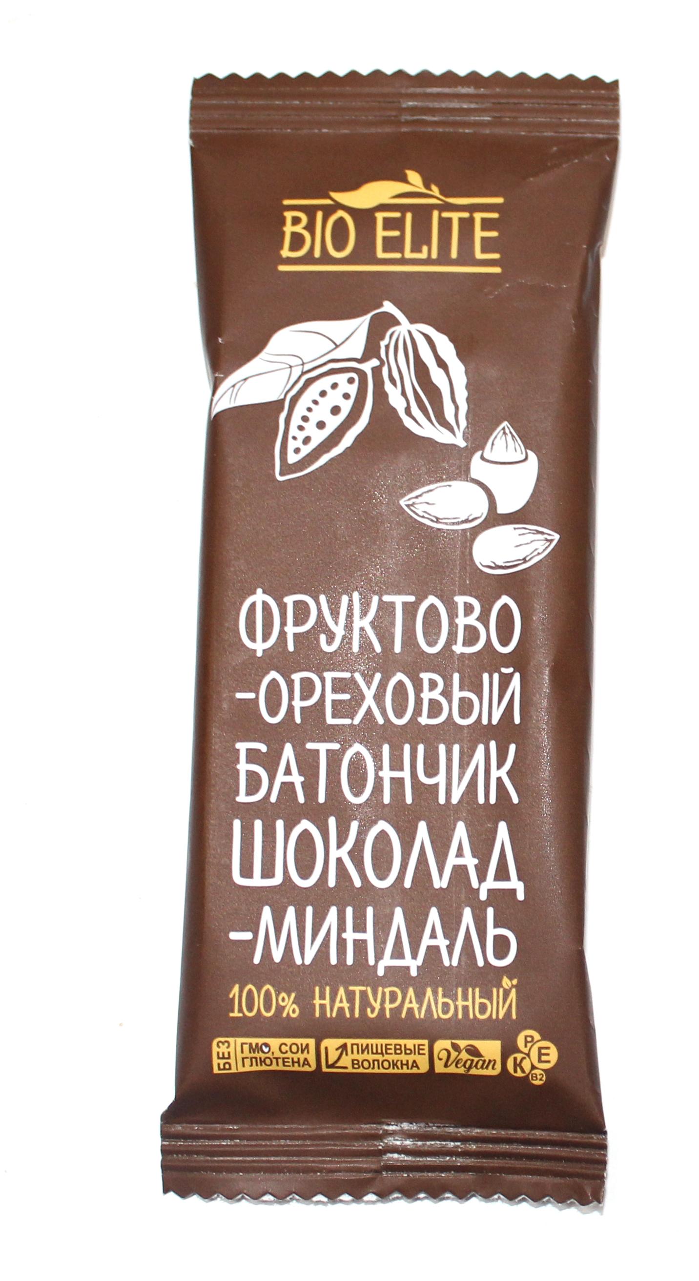 BIO ELITE - БАТОНЧИК ШОКОЛАД/МИНДАЛЬ 35гр 4870220420027