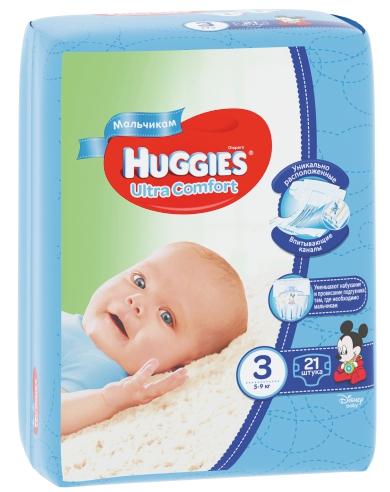HUGGIES - ПОДГУЗНИКИ HUGGIES UC S3 21шт 5-9кг Д/МАЛЬЧИКОВ 5029053543536