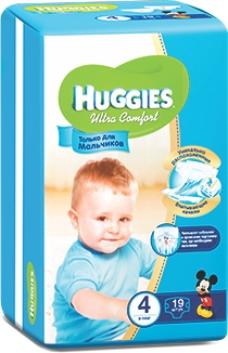 HUGGIES - ПОДГУЗНИКИ HUGGIES UC S4 19шт 8-14кг Д/МАЛЬЧИКОВ 5029053543550