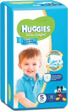 HUGGIES - ПОДГУЗНИКИ HUGGIES UC S5 15шт 12-22кг Д/МАЛЬЧИКОВ 5029053543574