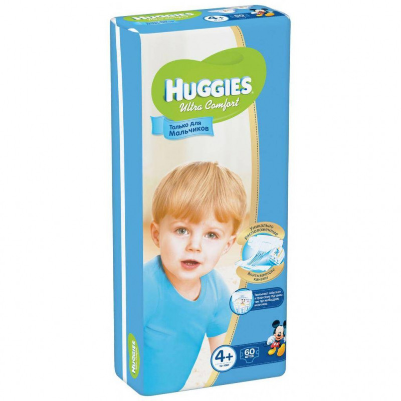 HUGGIES - ПОДГУЗНИКИ HUGGIES UC S4+ 60шт 10-16кг Д/МАЛЬЧИК 5029053543789